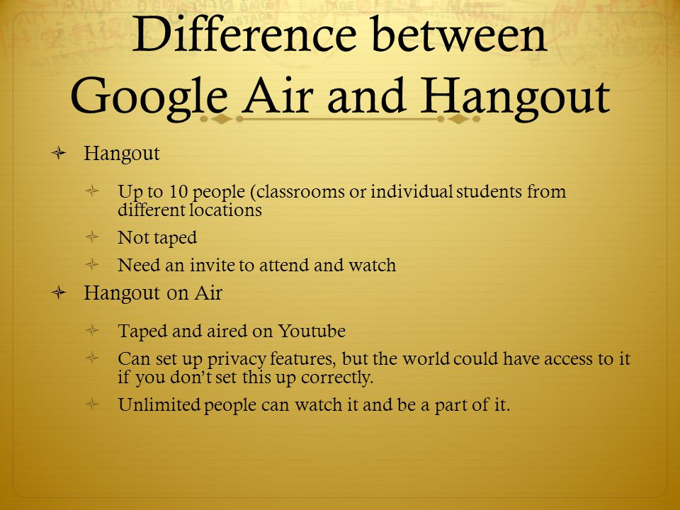  Hangout  Up to 10 people (classrooms or individual students from different locations  Not taped  Need an invite to attend and watch  Hangout on Air  Taped and aired on Youtube  Can set up privacy features, but the world could have access to it if you don't set this up correctly.