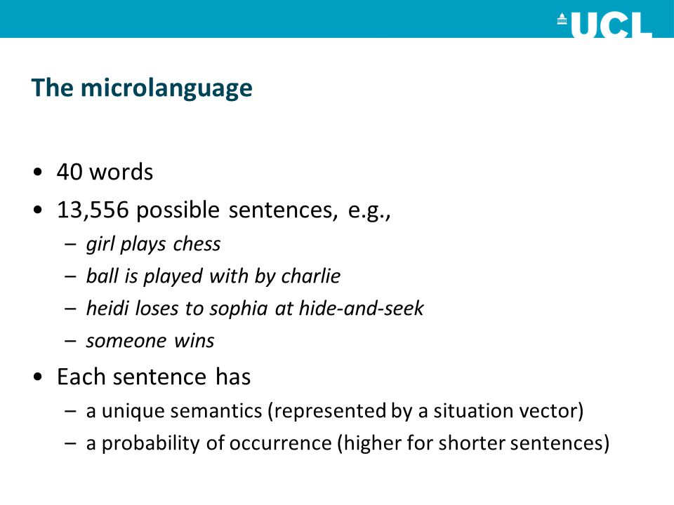 The microlanguage 40 words 13,556 possible sentences, e.g., –girl plays chess –ball is played with by charlie –heidi loses to sophia at hide-and-seek