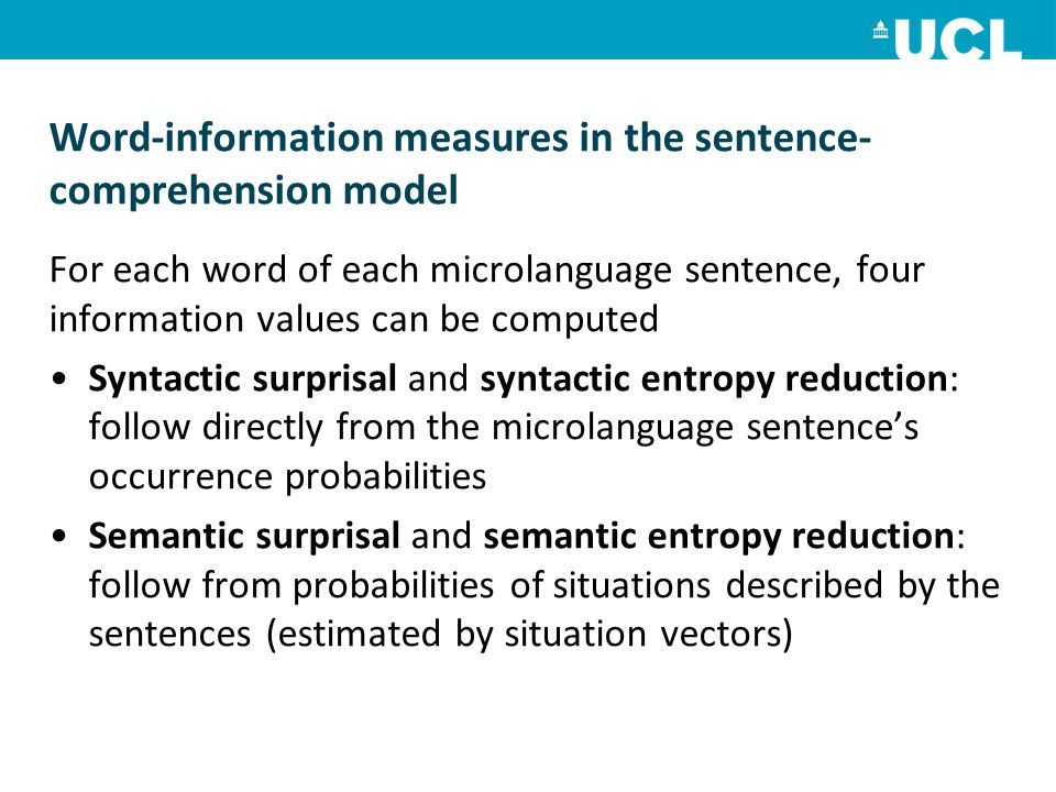 Word-information measures in the sentence- comprehension model For each word of each microlanguage sentence, four information values can be computed S