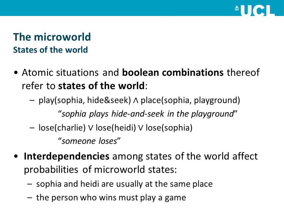 The microworld States of the world Atomic situations and boolean combinations thereof refer to states of the world: –play(sophia, hide&seek) ∧ place(sophia, playground) sophia plays hide-and-seek in the playground –lose(charlie) ∨ lose(heidi) ∨ lose(sophia) someone loses Interdependencies among states of the world affect probabilities of microworld states: –sophia and heidi are usually at the same place –the person who wins must play a game