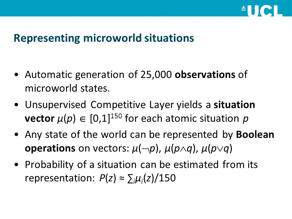 Representing microworld situations Automatic generation of 25,000 observations of microworld states.
