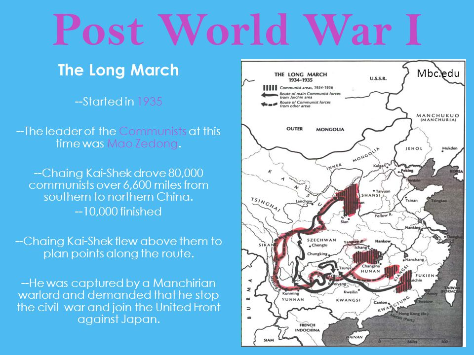 Post World War I The Long March --Started in 1935 --The leader of the Communists at this time was Mao Zedong. --Chaing Kai-Shek drove 80,000 communist