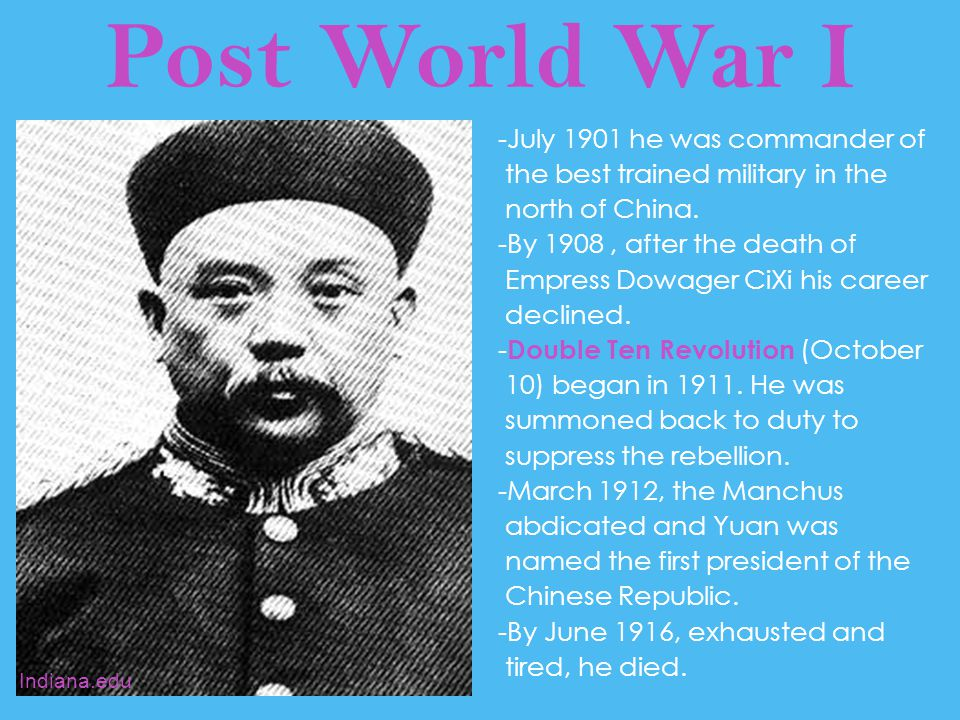 Post World War I The Long March --Started in 1935 --The leader of the Communists at this time was Mao Zedong.