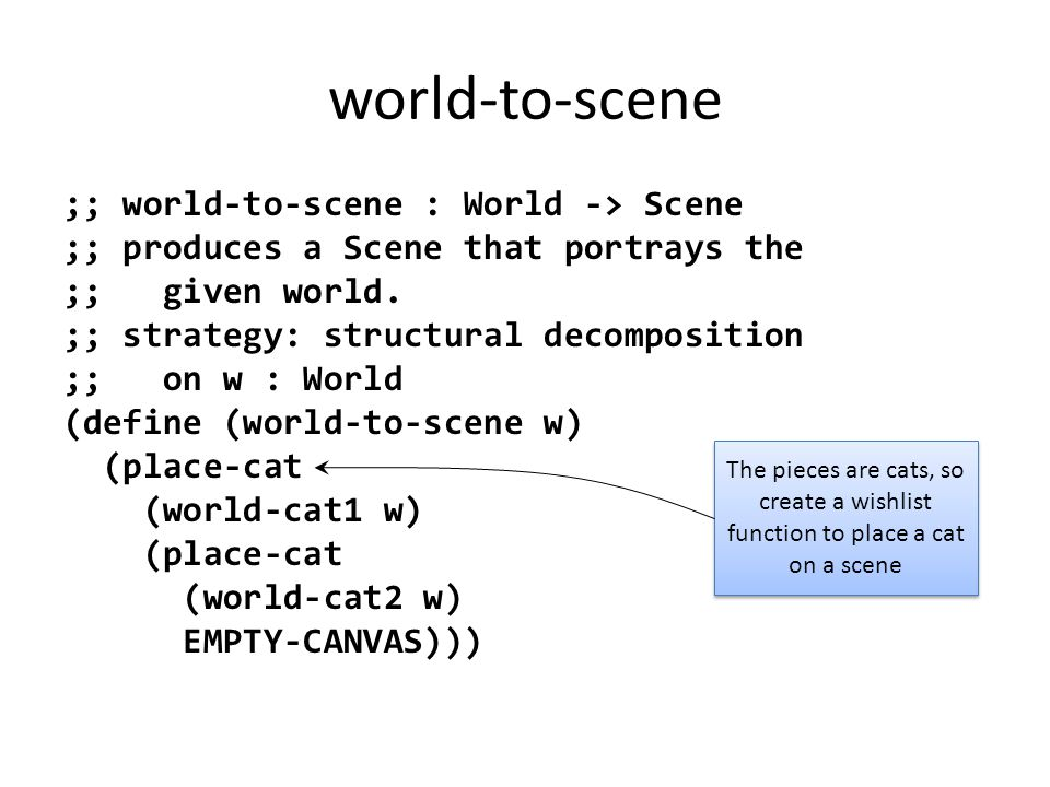 world-to-scene ;; world-to-scene : World -> Scene ;; produces a Scene that portrays the ;; given world.