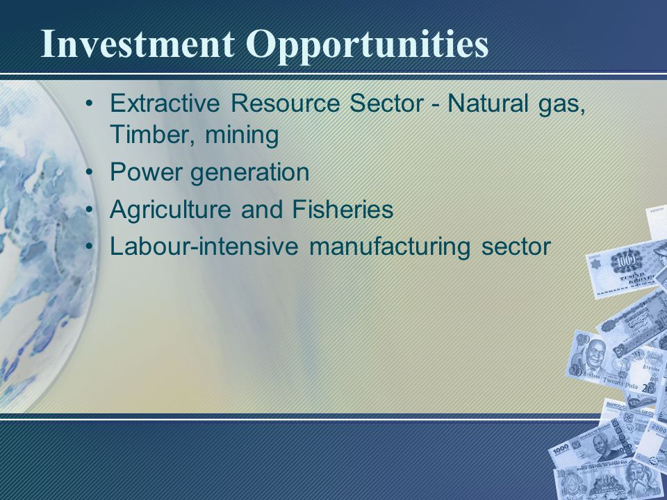 Investment Opportunities Extractive Resource Sector - Natural gas, Timber, mining Power generation Agriculture and Fisheries Labour-intensive manufacturing sector