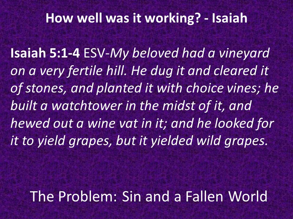 The Problem: Sin and a Fallen World How well was it working.