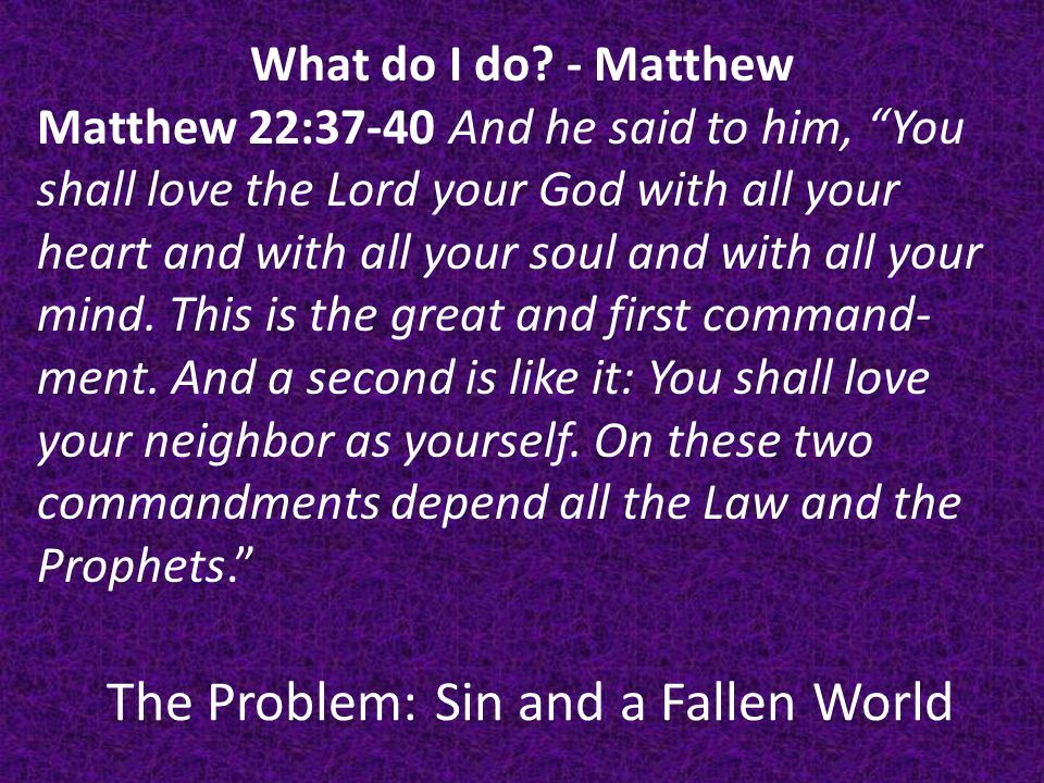The Problem: Sin and a Fallen World What do I do.