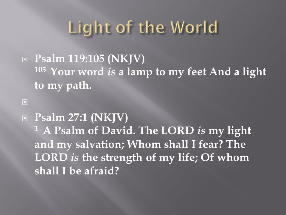 Psalm 119:105 (NKJV) 105 Your word is a lamp to my feet And a light to my path.