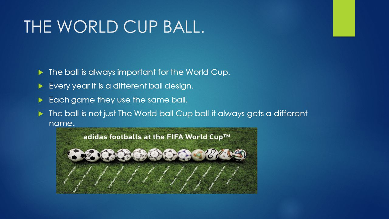 THE WORLD CUP BALL.  The ball is always important for the World Cup.