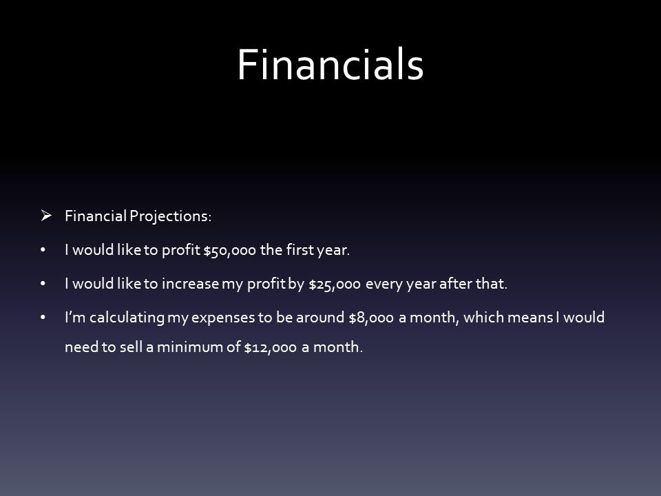 Financials  Type of accounting system: I will use front end and back end Quickbooks.