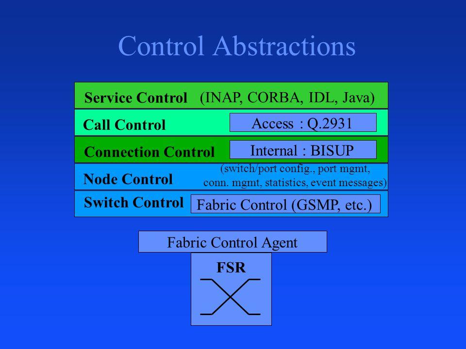 Control Abstractions Fabric Control Agent FSR Service Control Call Control (INAP, CORBA, IDL, Java) Connection Control Node Control Switch Control Fabric Control (GSMP, etc.) (switch/port config., port mgmt, conn.