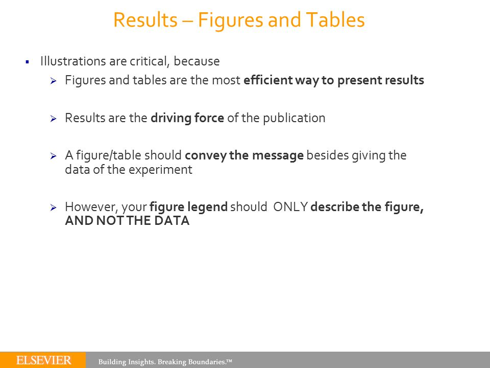 Results – Figures and Tables  Illustrations are critical, because  Figures and tables are the most efficient way to present results  Results are th