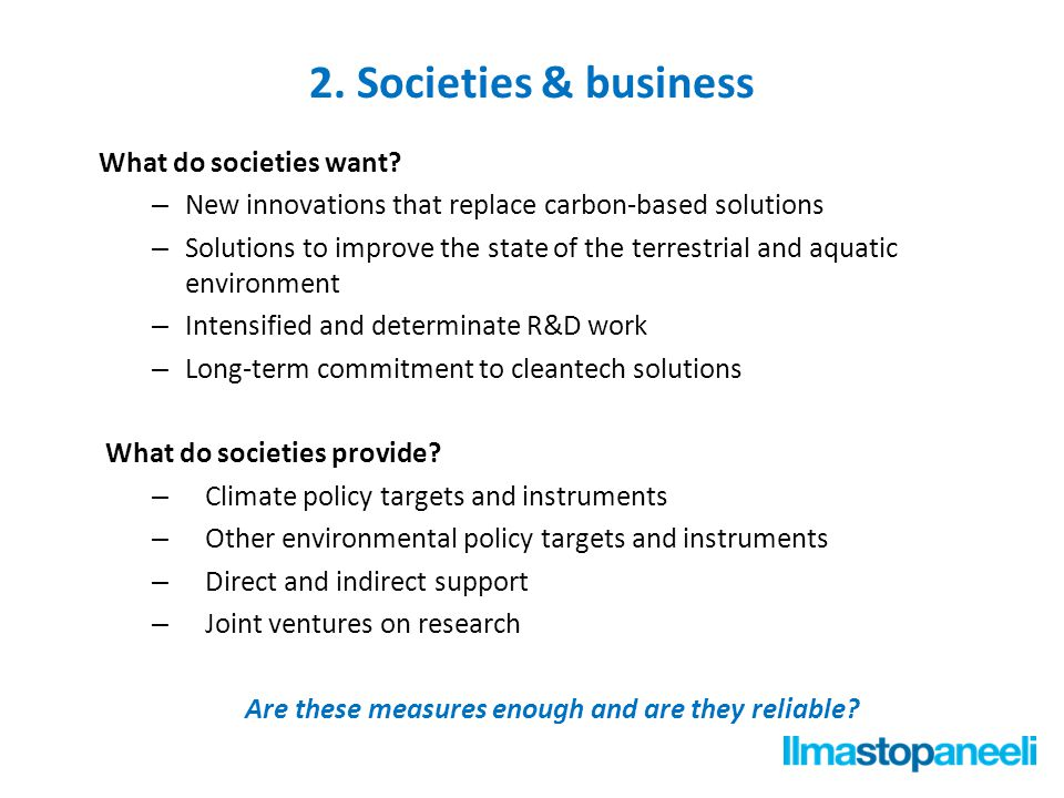 2. Societies & business What do societies want.