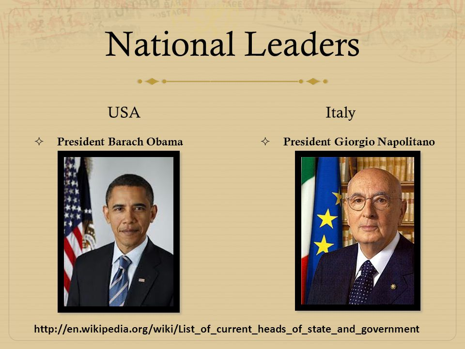 National Leaders USA  President Barach Obama Italy  President Giorgio Napolitano http://en.wikipedia.org/wiki/List_of_current_heads_of_state_and_gov