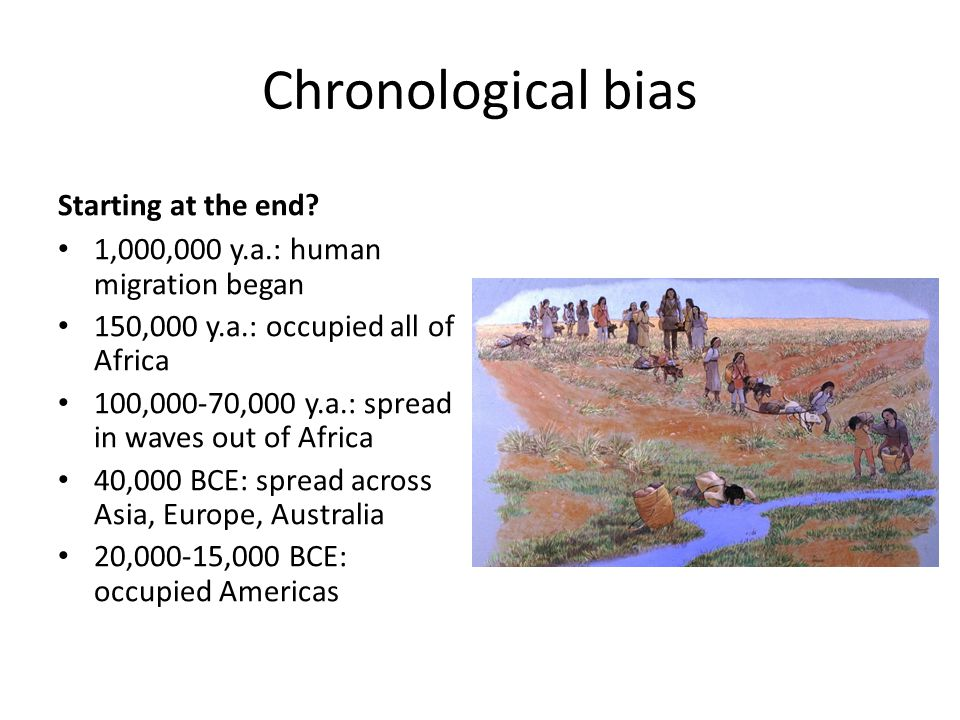 Chronological bias Starting at the end? 1,000,000 y.a.: human migration began 150,000 y.a.: occupied all of Africa 100,000-70,000 y.a.: spread in wave