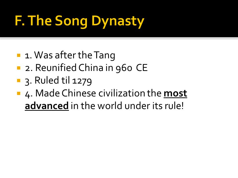  1. Was after the Tang  2. Reunified China in 960 CE  3.