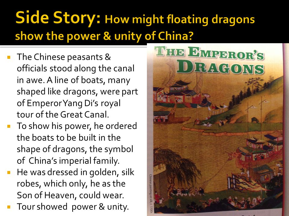  The Chinese peasants & officials stood along the canal in awe.