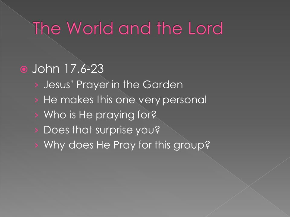  John 17.6-23 › Jesus' Prayer in the Garden › He makes this one very personal › Who is He praying for.