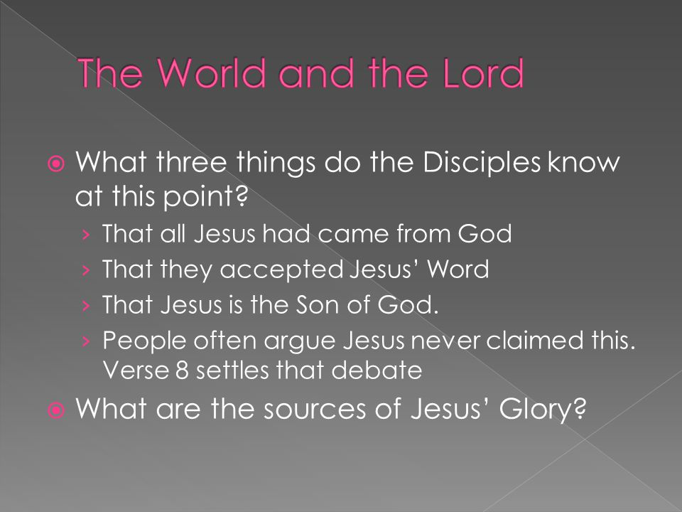  What three things do the Disciples know at this point.