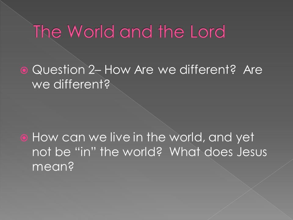  Question 2– How Are we different. Are we different.