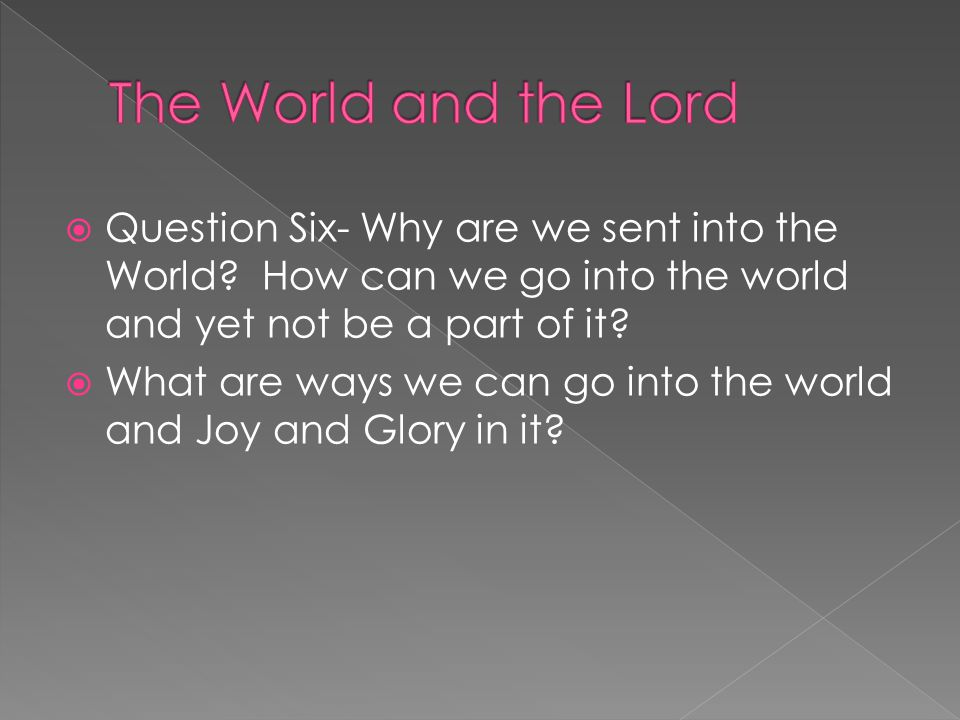  Question Six- Why are we sent into the World.