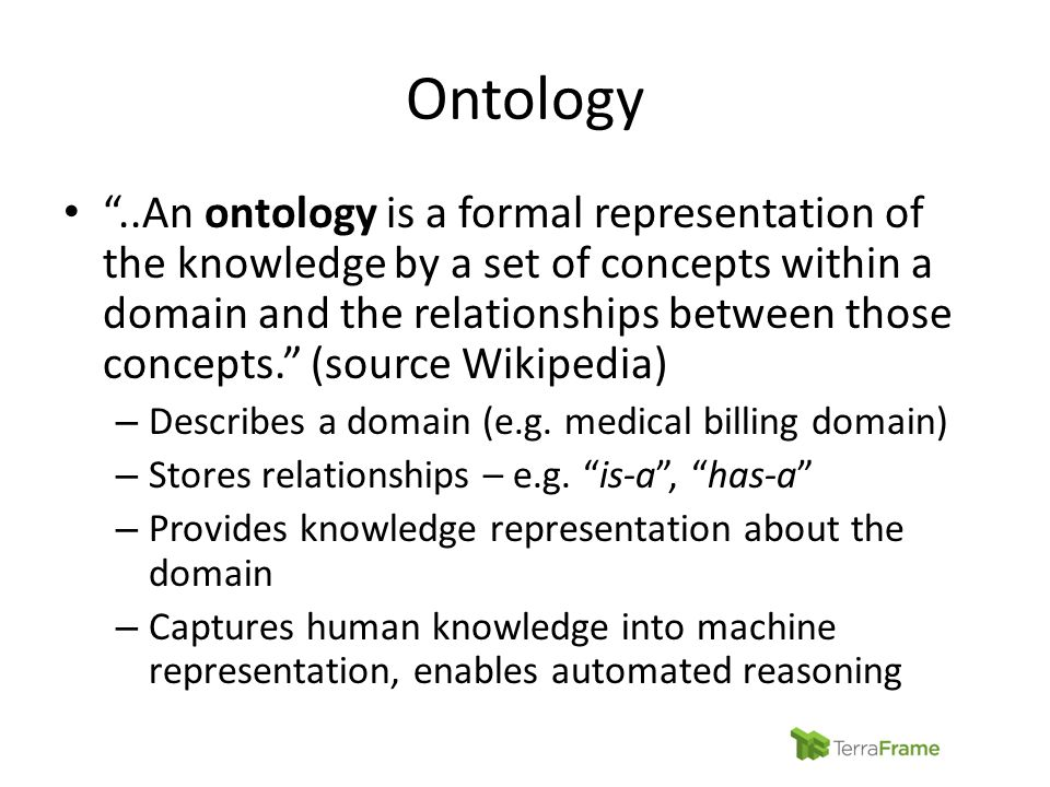 """Ontology """"..An ontology is a formal representation of the knowledge by a set of concepts within a domain and the relationships between those concepts."""