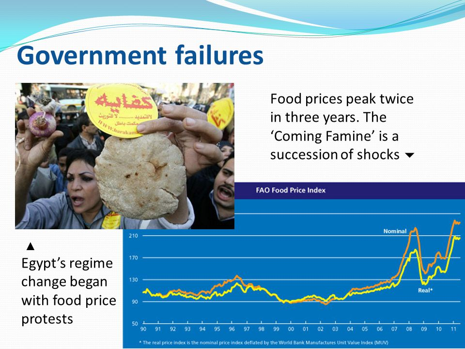 Government failures ▲ Egypt's regime change began with food price protests Food prices peak twice in three years. The 'Coming Famine' is a succession