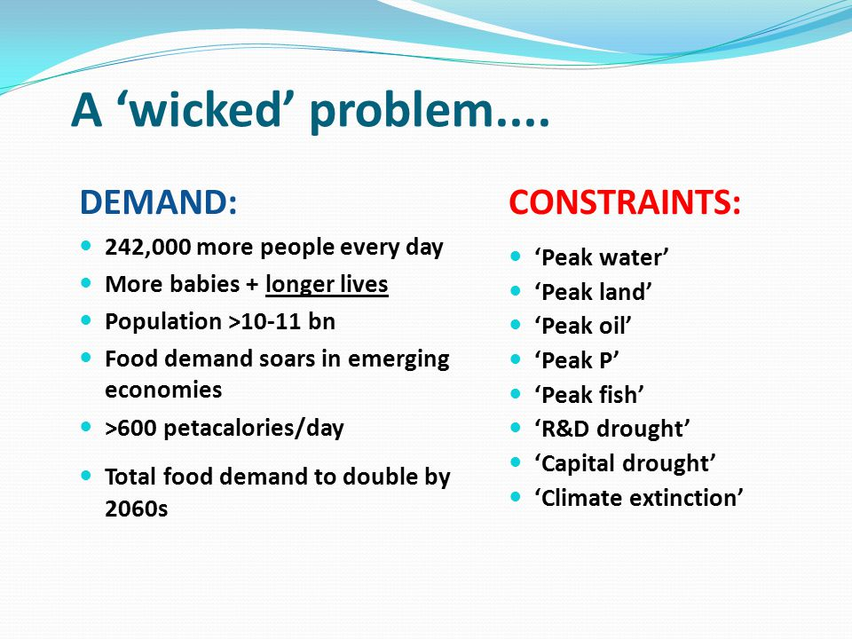 A 'wicked' problem.... DEMAND: 242,000 more people every day More babies + longer lives Population >10-11 bn Food demand soars in emerging economies >