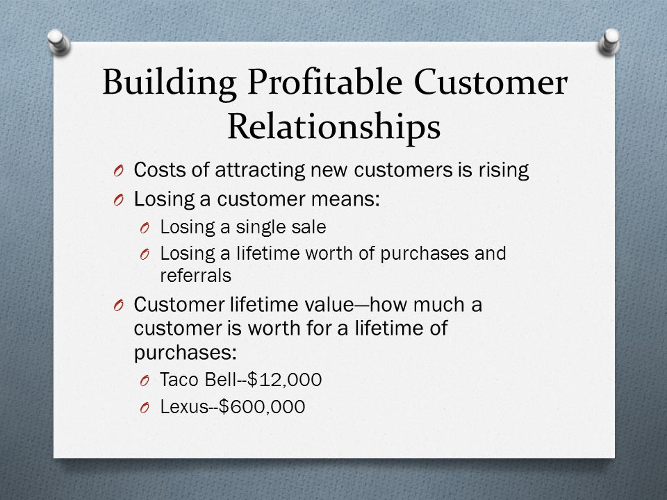 Building Profitable Customer Relationships O Costs of attracting new customers is rising O Losing a customer means: O Losing a single sale O Losing a lifetime worth of purchases and referrals O Customer lifetime value—how much a customer is worth for a lifetime of purchases: O Taco Bell--$12,000 O Lexus--$600,000