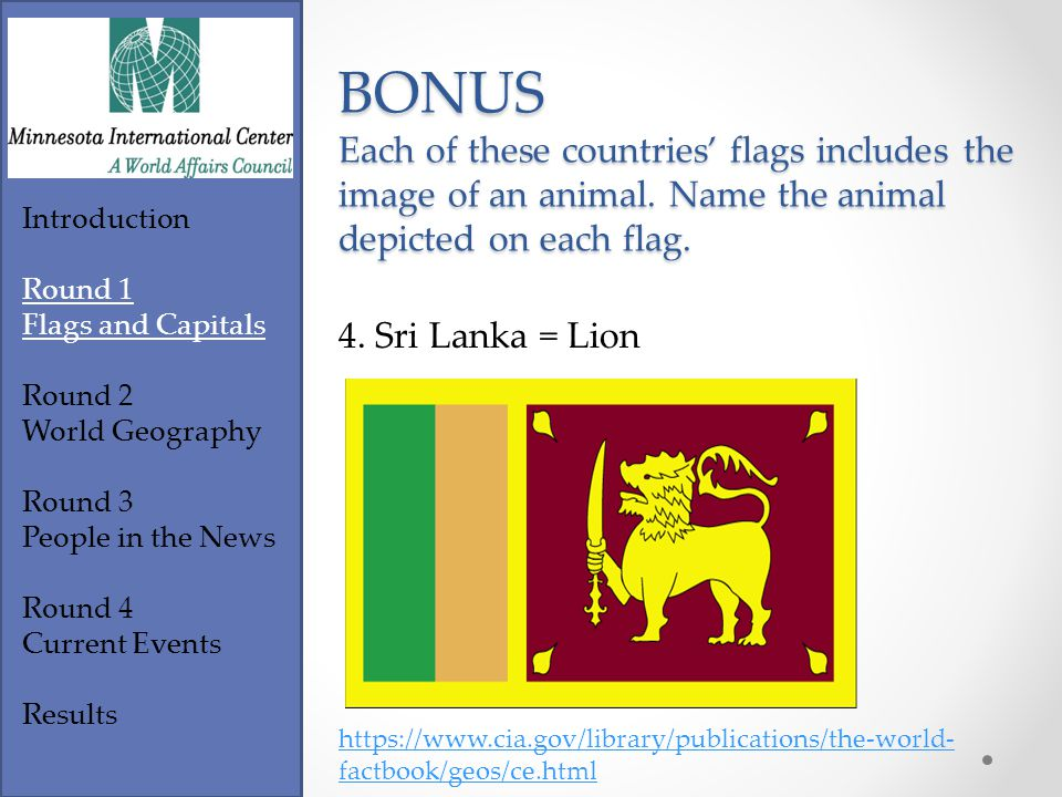 Introduction Round 1 Flags and Capitals Round 2 World Geography Round 3 People in the News Round 4 Current Events Results https://www.cia.gov/library/publications/the-world- factbook/geos/do.html BONUS Each of these countries' flags includes the image of an animal.