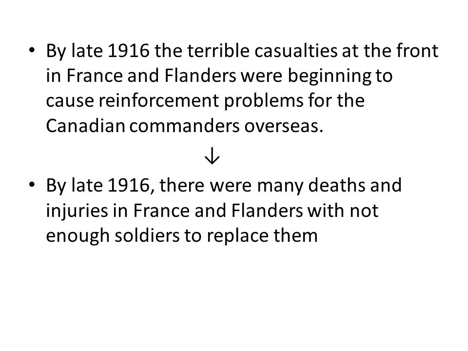 By late 1916 the terrible casualties at the front in France and Flanders were beginning to cause reinforcement problems for the Canadian commanders overseas.