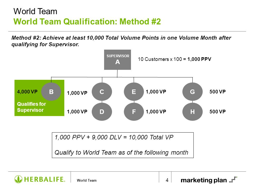 World Team 5 Total Organizational Volume = 10,000 VP 10,000 x 5% = 500 RO Points Qualify to World Team on the first of the following month SUPERVISOR 4 SUPERVISOR 1 SUPERVISOR 2 SUPERVISOR 3 2,500 VP 5,000 VP 2,500 VP 5% RO Method #3: Achieve at least 500 Royalty Points in one Volume Month.