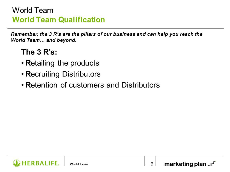 World Team 6 Remember, the 3 R's are the pillars of our business and can help you reach the World Team… and beyond. World Team World Team Qualificatio