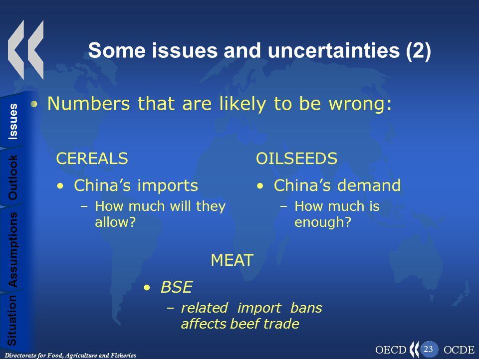 Directorate for Food, Agriculture and Fisheries 23 Some issues and uncertainties (2) Numbers that are likely to be wrong: Situation Assumptions Outlook Issues CEREALS China's imports –How much will they allow.