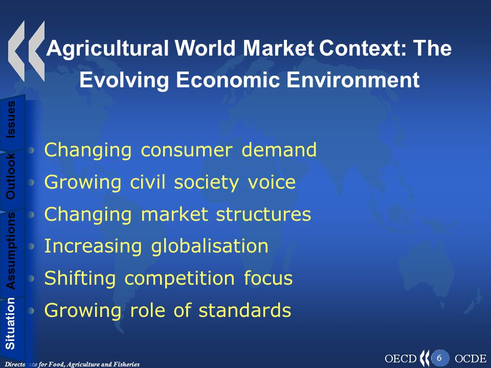 Directorate for Food, Agriculture and Fisheries 6 Agricultural World Market Context: The Evolving Economic Environment Changing consumer demand Growing civil society voice Changing market structures Increasing globalisation Shifting competition focus Growing role of standards Situation Assumptions Outlook Issues Situation Assumptions Outlook Issues