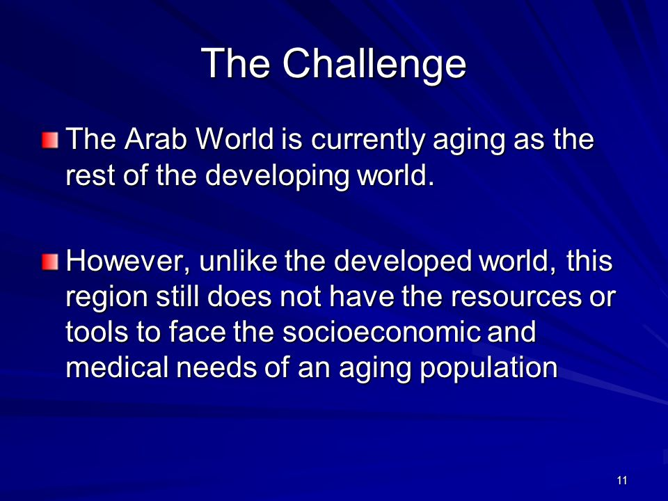11 The Challenge The Arab World is currently aging as the rest of the developing world.