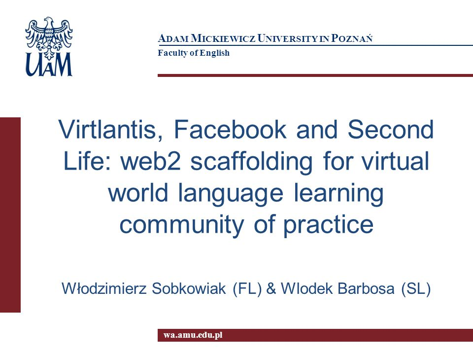 12 Scaffolding on Virtlantis Facebook wall Types of posts 1.Pre-activity announcements 2.Post-activity comments 3.E-teaching/sharing 4.Information requests 5.Social bonding