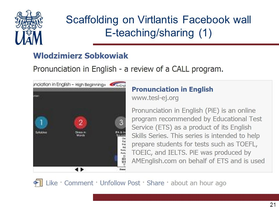 21 Scaffolding on Virtlantis Facebook wall E-teaching/sharing (1)