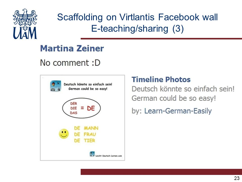 23 Scaffolding on Virtlantis Facebook wall E-teaching/sharing (3)