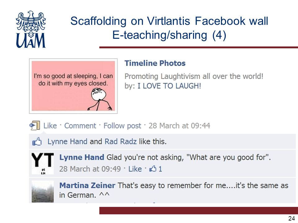 24 Scaffolding on Virtlantis Facebook wall E-teaching/sharing (4)