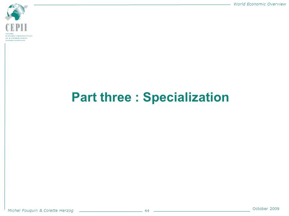 World Economic Overview Michel Fouquin & Colette Herzog October 2009 Part three : Specialization 44