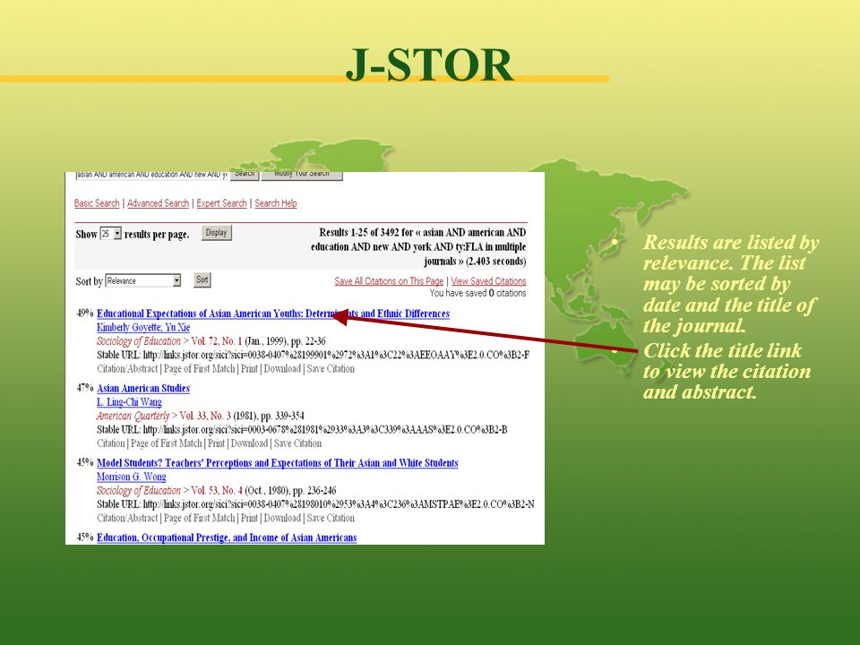 J-STOR Results are listed by relevance.