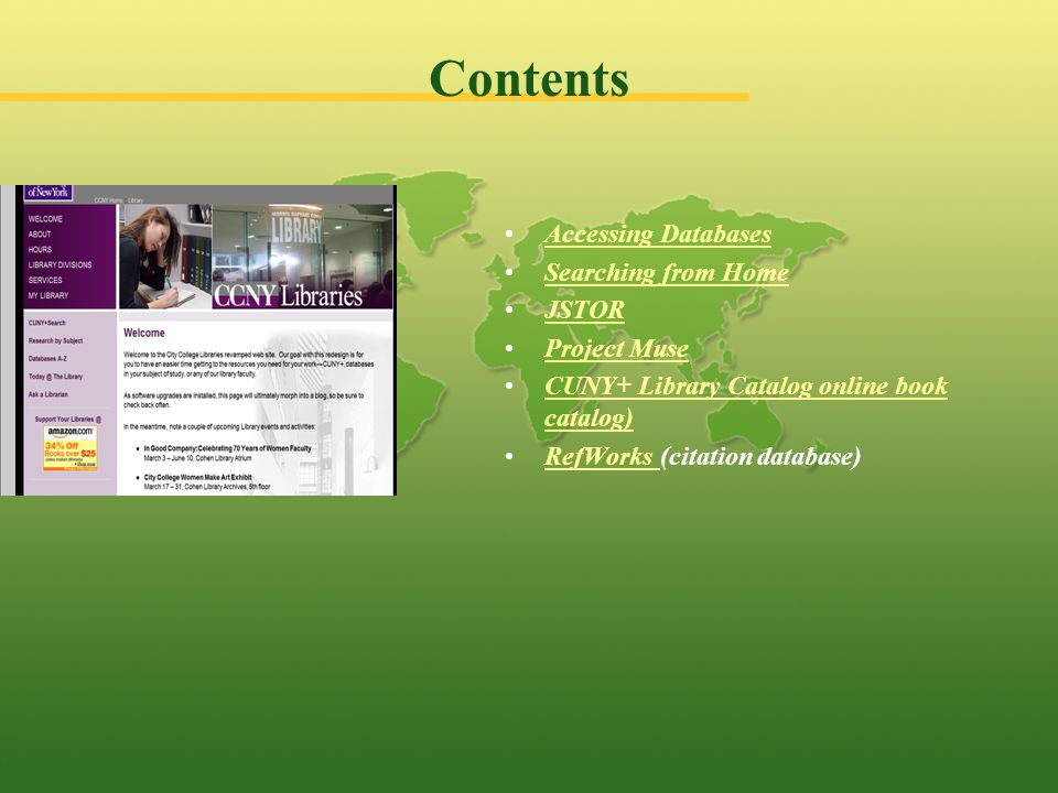 From the City College Library home page click Databases A- Z link.