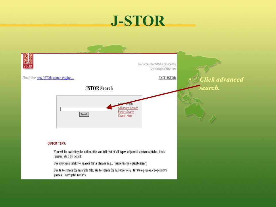 J-STOR You can type in your search terms here.For example, Asian American education New York.