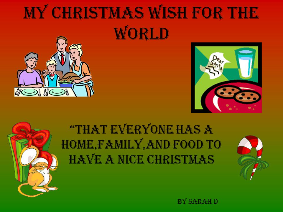 My Christmas wish for the world….…. That the war STOPS!! Teresita L