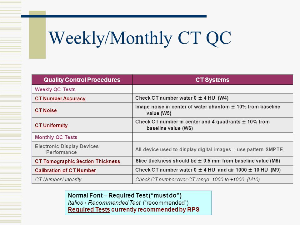 Weekly/Monthly CT QC Quality Control ProceduresCT Systems Weekly QC Tests CT Number AccuracyCheck CT number water 0 ± 4 HU (W4) CT Noise Image noise i