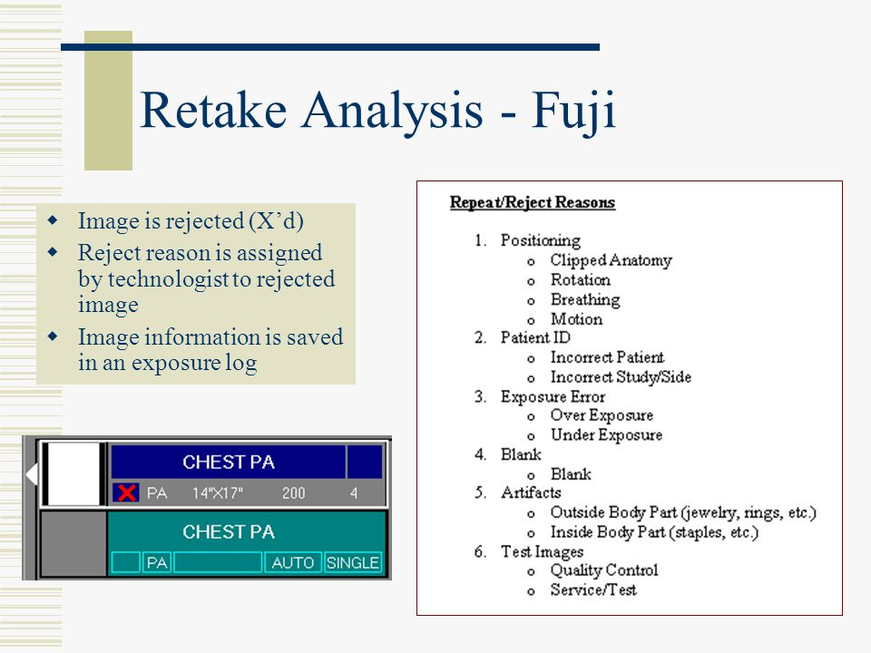 Retake Analysis - Fuji  Image is rejected (X'd)  Reject reason is assigned by technologist to rejected image  Image information is saved in an expo