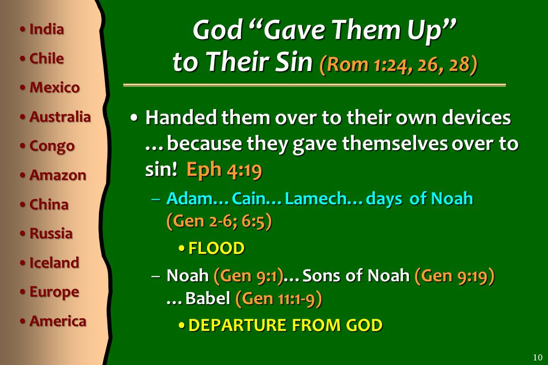 Handed them over to their own devices …because they gave themselves over to sin.