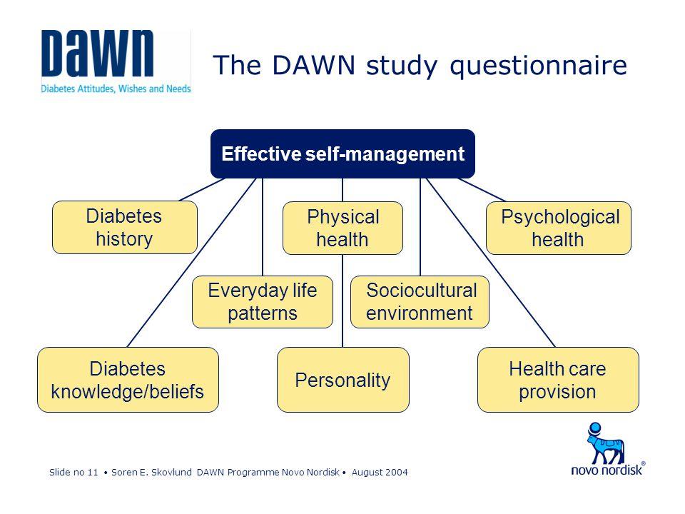 Slide no 11 Soren E. Skovlund DAWN Programme Novo Nordisk August 2004 The DAWN study questionnaire Health care provision Personality Diabetes knowledg