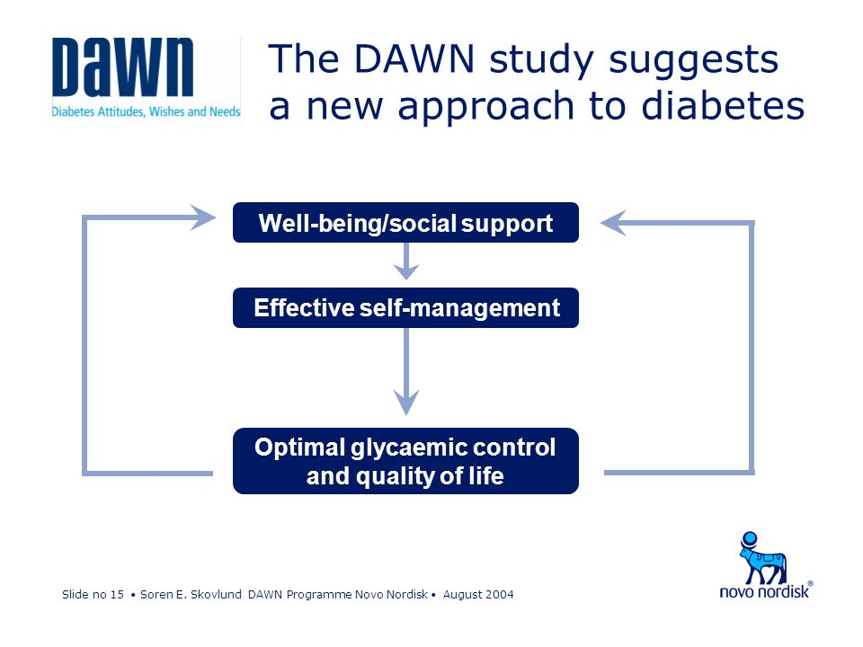 Slide no 15 Soren E. Skovlund DAWN Programme Novo Nordisk August 2004 The DAWN study suggests a new approach to diabetes Well-being/social support Eff